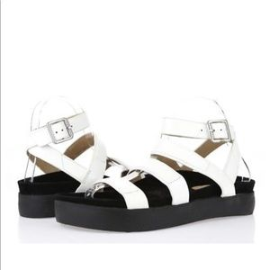 L.A.M.B white platform sandals AS NEW